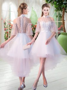 White Half Sleeves Tulle Zipper Prom Dresses for Prom and Party