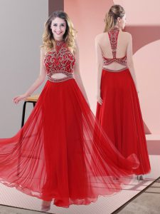 Red Chiffon Backless Halter Top Sleeveless Ankle Length Beading