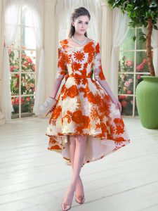 Fabulous Orange Red Scoop Lace Up Belt Prom Dress Half Sleeves
