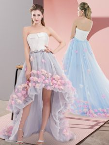 Grey Tulle Lace Up Strapless Sleeveless High Low Prom Gown Appliques
