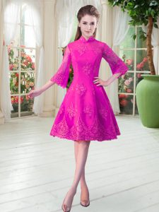 Knee Length Zipper Prom Gown Fuchsia for Prom and Party with Lace