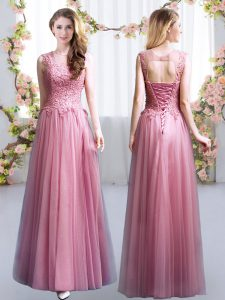High Quality Tulle Scoop Sleeveless Lace Up Lace Bridesmaid Gown in Pink