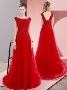 Red Prom Evening Gown Bateau Sleeveless Sweep Train Lace Up