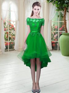 Short Sleeves High Low Appliques Lace Up with Green