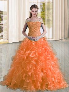 Orange Vestidos de Quinceanera Off The Shoulder Sleeveless Sweep Train Lace Up