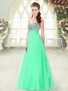 On Sale Apple Green A-line Tulle Sweetheart Sleeveless Beading Floor Length Lace Up Prom Gown