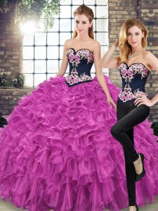 Sweetheart Sleeveless Sweep Train Lace Up Quince Ball Gowns Fuchsia Organza