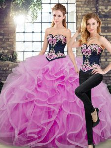 Fine Sweetheart Sleeveless Sweet 16 Dress Floor Length Sweep Train Embroidery and Ruffles Lilac Tulle