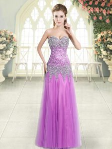 Lilac Sweetheart Neckline Beading Dress for Prom Sleeveless Zipper