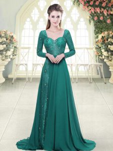 Low Price Long Sleeves Sweep Train Backless Beading and Lace Dress for Prom