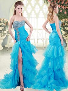 Aqua Blue Mermaid Beading and Ruffled Layers Womens Evening Dresses Lace Up Organza Sleeveless