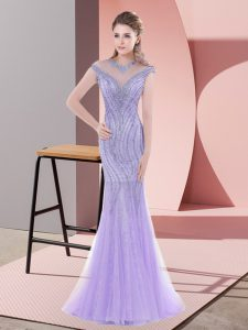 Beading Prom Dress Lavender Lace Up Cap Sleeves Sweep Train
