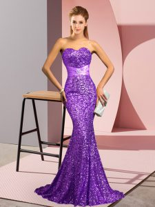 Sleeveless Sequined Sweep Train Backless Prom Dresses in Purple with Beading