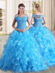 Low Price Sleeveless Organza Sweep Train Lace Up Ball Gown Prom Dress in Baby Blue with Beading and Lace and Ruffles