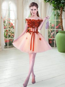 Nice Mini Length Peach Prom Evening Gown Tulle Sleeveless Beading and Appliques