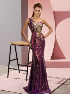 Brush Train Mermaid Homecoming Dress Purple One Shoulder Sequined Sleeveless Lace Up