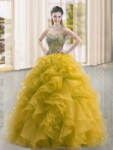 Designer Floor Length Ball Gowns Sleeveless Gold Sweet 16 Quinceanera Dress Lace Up
