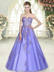 Appliques Prom Dresses Lavender Lace Up Sleeveless Floor Length