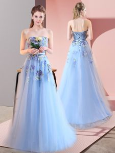 Sweet Floor Length A-line Sleeveless Blue Dress for Prom Lace Up