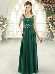 Glittering Spaghetti Straps Sleeveless Chiffon Prom Evening Gown Beading and Ruching Lace Up