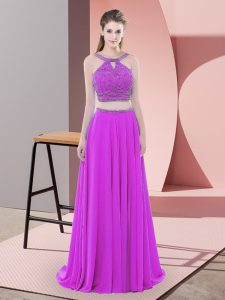 Chiffon Straps Sleeveless Sweep Train Backless Beading Prom Dresses in Purple