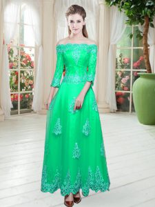 Fashion Floor Length A-line 3 4 Length Sleeve Turquoise Prom Gown Lace Up