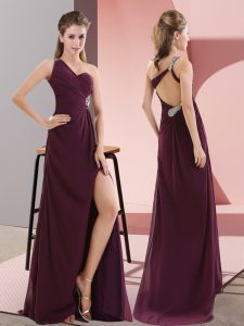 Exceptional Dark Purple Sleeveless Beading and Lace Backless Prom Gown