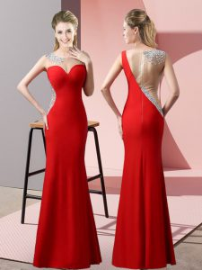 Comfortable Scoop Sleeveless Prom Dresses Floor Length Beading and Pick Ups Red Satin