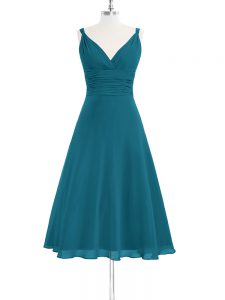 Spectacular Teal A-line Straps Sleeveless Chiffon Knee Length Zipper Ruching Prom Evening Gown