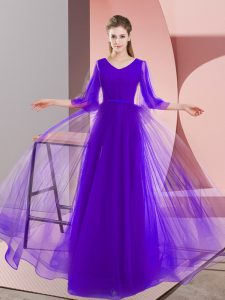 Sophisticated Long Sleeves Tulle Floor Length Zipper Prom Party Dress in Purple with Beading