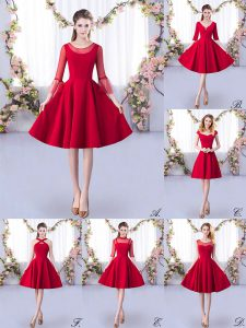 Knee Length A-line 3 4 Length Sleeve Red Damas Dress Zipper