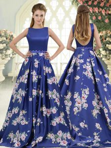 Simple Royal Blue Homecoming Dress Prom and Party with Beading and Pattern Scoop Sleeveless Brush Train Backless