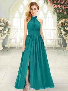 Custom Made Teal Halter Top Neckline Ruching Homecoming Dress Sleeveless Zipper
