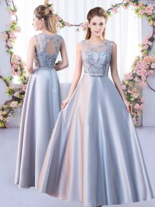 Floor Length Silver Court Dresses for Sweet 16 Scoop Sleeveless Lace Up