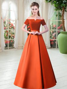 Hot Sale Floor Length Lace Up Orange Red for Prom and Party with Belt