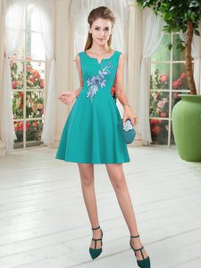 Dynamic Sleeveless Mini Length Appliques Zipper Prom Gown with Turquoise