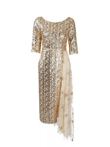 Gold Half Sleeves Sequined Zipper Prom Evening Gown for Prom and Party