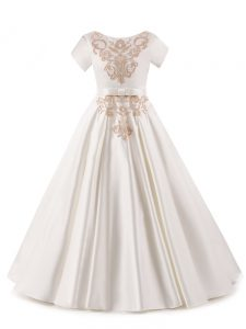 Super White Scoop Zipper Appliques Little Girls Pageant Dress Wholesale Short Sleeves