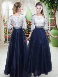 Fabulous Navy Blue 3 4 Length Sleeve Beading and Lace Floor Length Prom Dresses