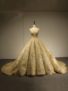 Fantastic Gold Sleeveless Brush Train Sequins Quince Ball Gowns