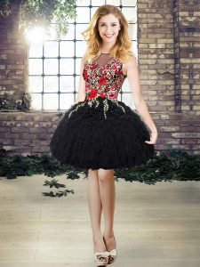 Low Price Sleeveless Mini Length Embroidery and Ruffles Lace Up Prom Dress with Black