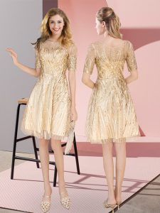 Gold Sequined Zipper Scoop Half Sleeves Knee Length Prom Party Dress Ruching