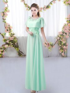 Beauteous Apple Green Short Sleeves Chiffon Zipper Dama Dress for Prom and Party and Wedding Party