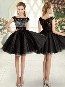 New Style Black Evening Dress Prom and Party with Beading Square Sleeveless Zipper