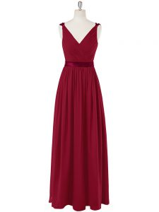 Elegant Floor Length Zipper Prom Dress Wine Red for Prom and Party and Military Ball with Ruching and Belt