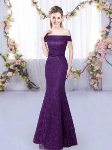 Cheap Sleeveless Floor Length Lace Up Court Dresses for Sweet 16 in Purple with Lace