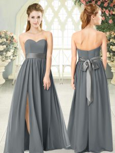 Charming Grey Empire Sweetheart Sleeveless Chiffon Floor Length Zipper Belt Homecoming Dress