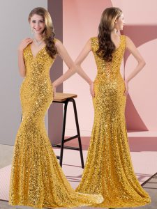 Mermaid Sleeveless Gold Prom Gown Sweep Train Lace Up