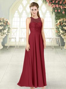 Artistic Burgundy Sleeveless Floor Length Lace Backless Prom Evening Gown