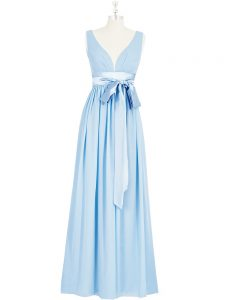 Baby Blue V-neck Backless Ruching and Bowknot Dress for Prom Sleeveless